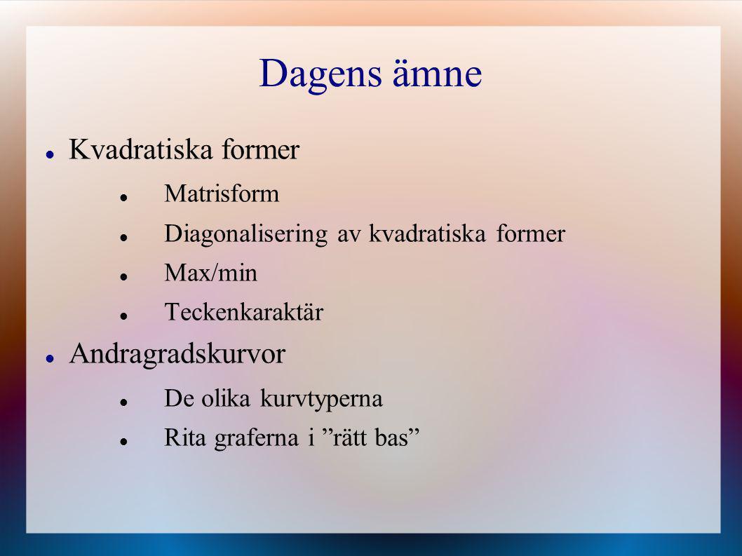 Dagens ämne Kvadratiska former Andragradskurvor Matrisform