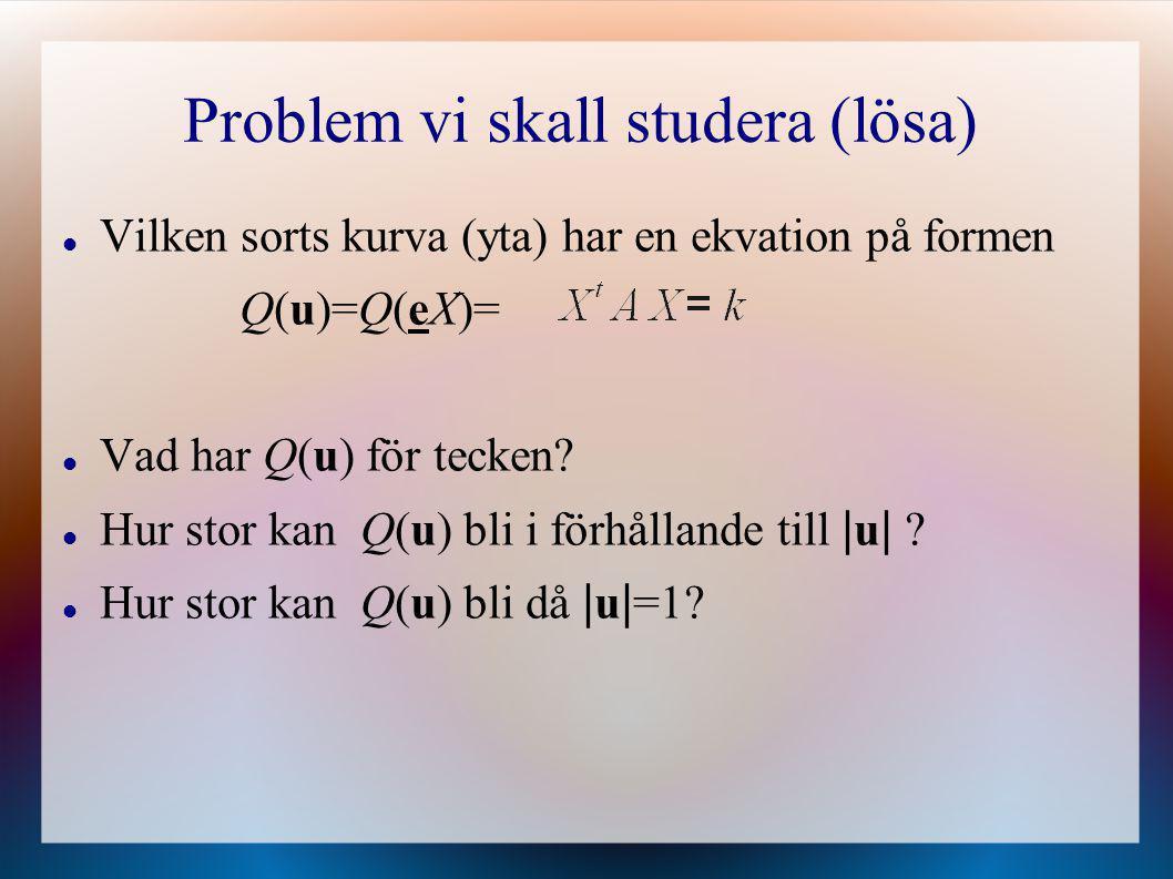 Problem vi skall studera (lösa)