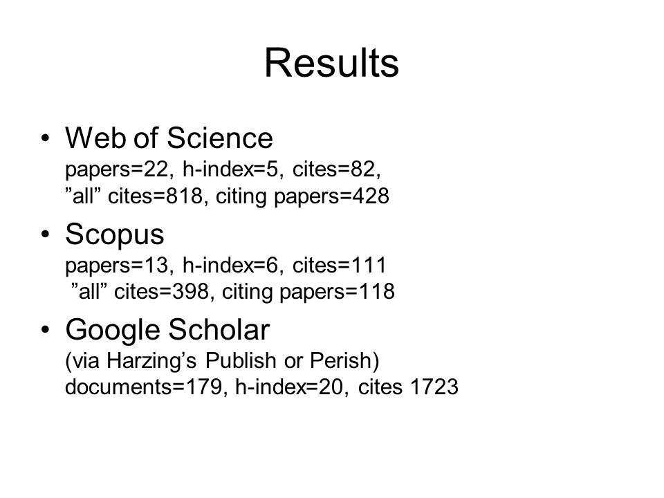 Results Web of Science papers=22, h-index=5, cites=82, all cites=818, citing papers=428.