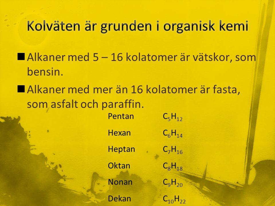 Kolväten är grunden i organisk kemi