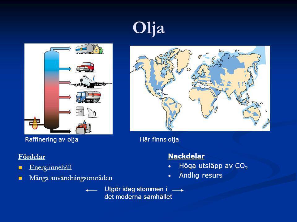 Olja Fördelar Energiinnehåll Många användningsområden Nackdelar