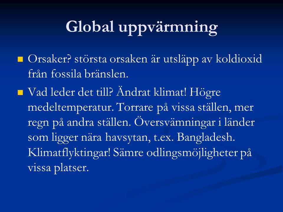 Global uppvärmning Orsaker största orsaken är utsläpp av koldioxid från fossila bränslen.