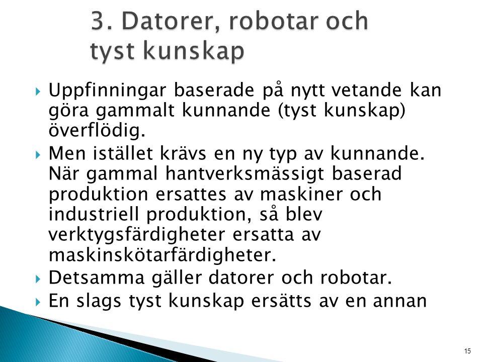 3. Datorer, robotar och tyst kunskap