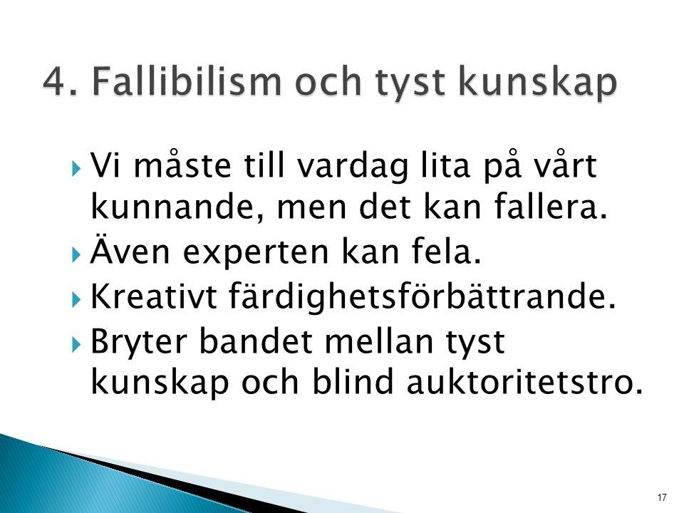 4. Fallibilism och tyst kunskap