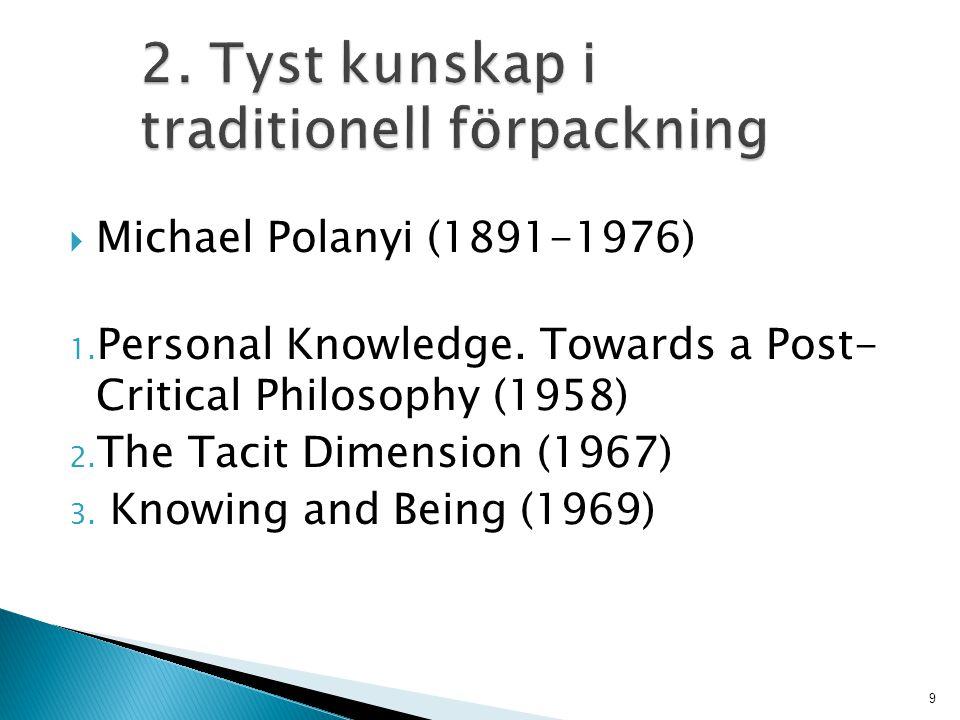 2. Tyst kunskap i traditionell förpackning
