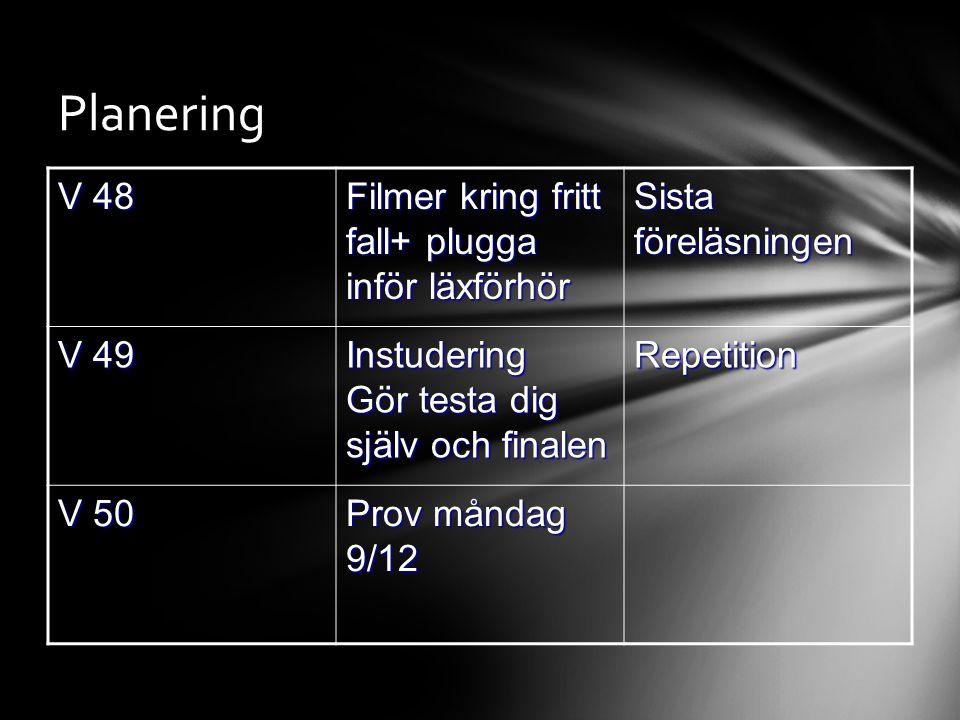 Planering V 48 Filmer kring fritt fall+ plugga inför läxförhör