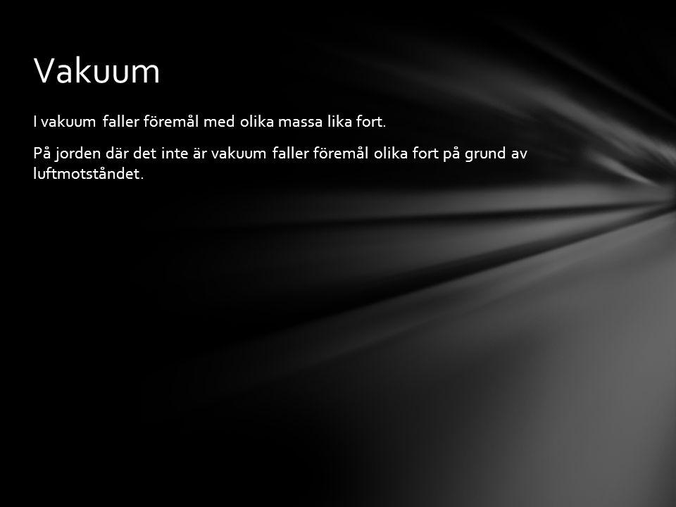 Vakuum I vakuum faller föremål med olika massa lika fort.