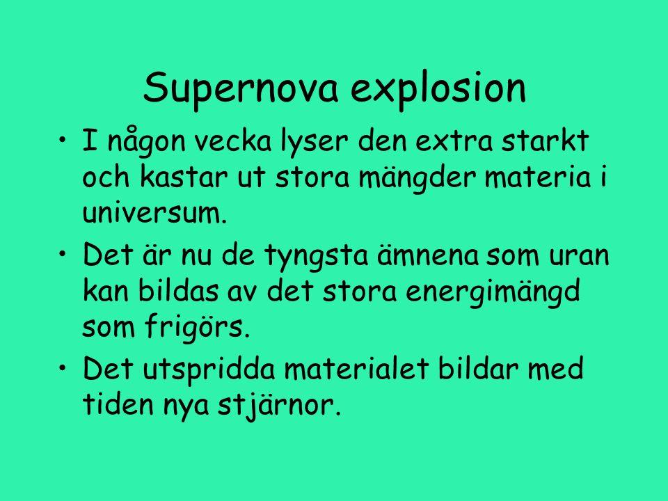 Supernova explosion I någon vecka lyser den extra starkt och kastar ut stora mängder materia i universum.