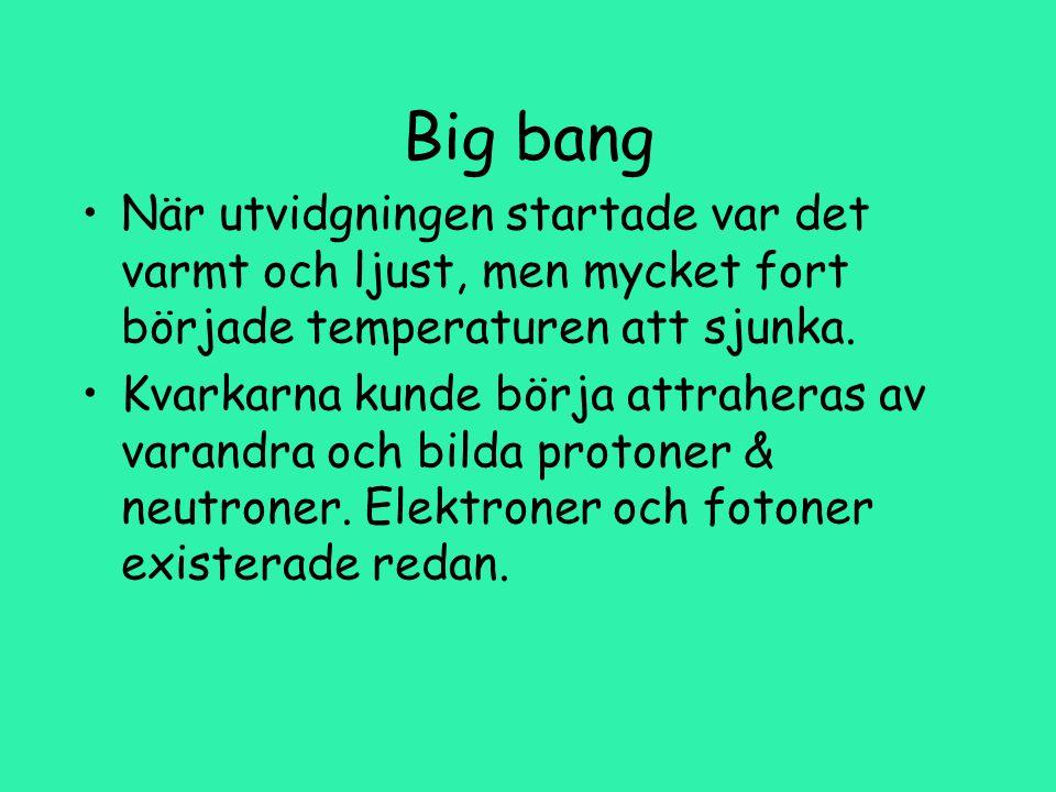 Big bang När utvidgningen startade var det varmt och ljust, men mycket fort började temperaturen att sjunka.