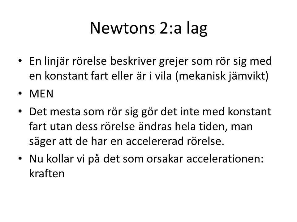 Newtons 2:a lag En linjär rörelse beskriver grejer som rör sig med en konstant fart eller är i vila (mekanisk jämvikt)