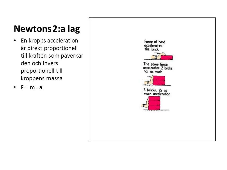 Newtons 2:a lag En kropps acceleration är direkt proportionell till kraften som påverkar den och invers proportionell till kroppens massa.
