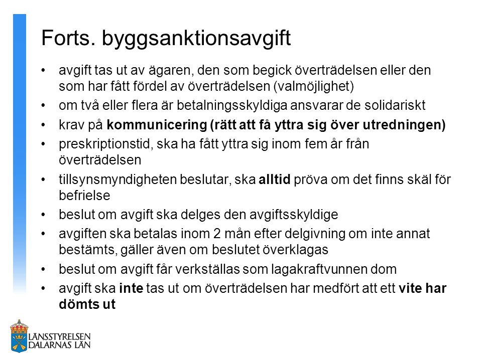 Forts. byggsanktionsavgift