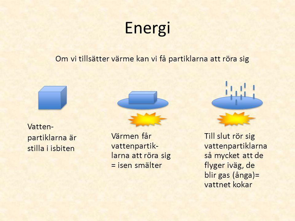 Energi Om vi tillsätter värme kan vi få partiklarna att röra sig