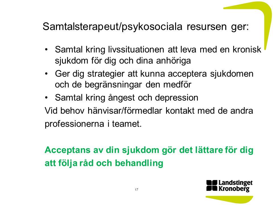 Samtalsterapeut/psykosociala resursen ger: