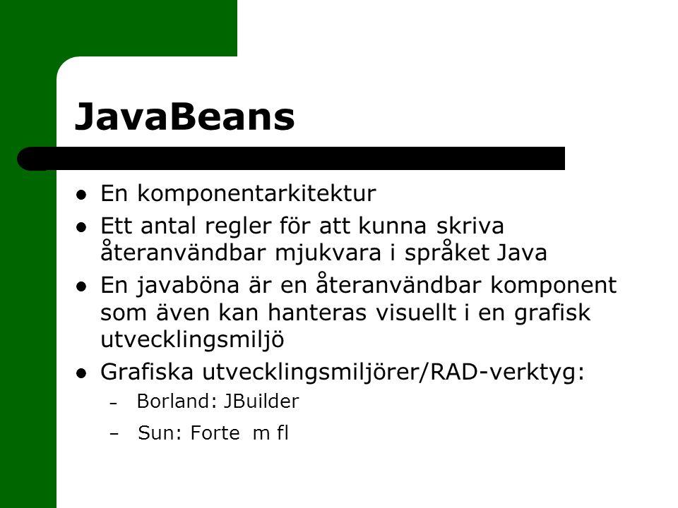 JavaBeans En komponentarkitektur