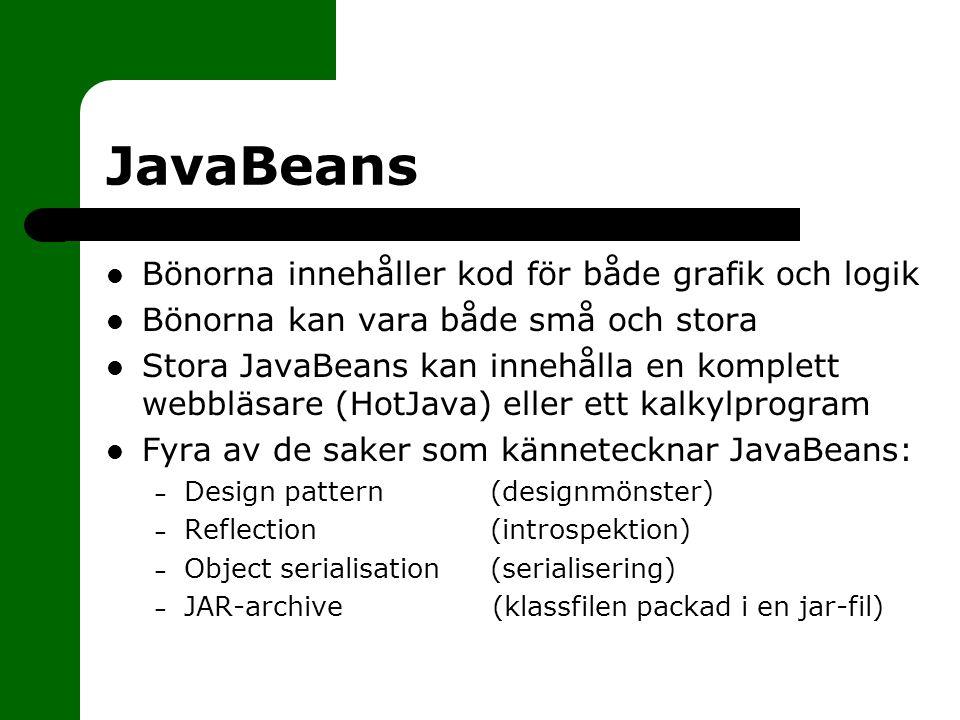 JavaBeans Bönorna innehåller kod för både grafik och logik