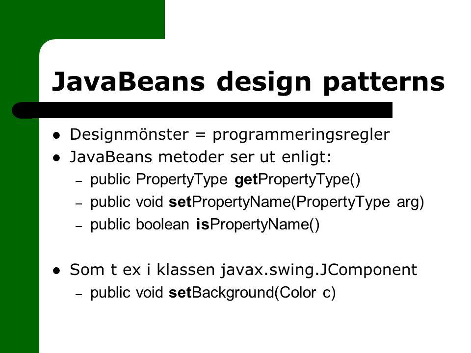 JavaBeans design patterns