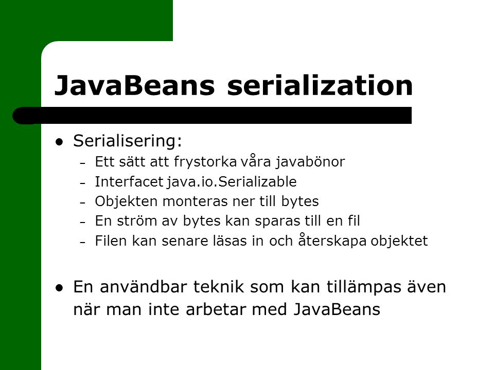 JavaBeans serialization