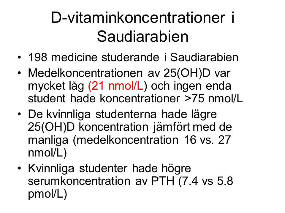D-vitaminkoncentrationer i Saudiarabien