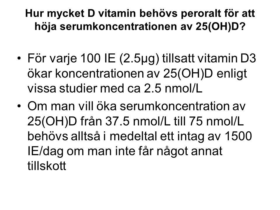 Hur mycket D vitamin behövs peroralt för att höja serumkoncentrationen av 25(OH)D
