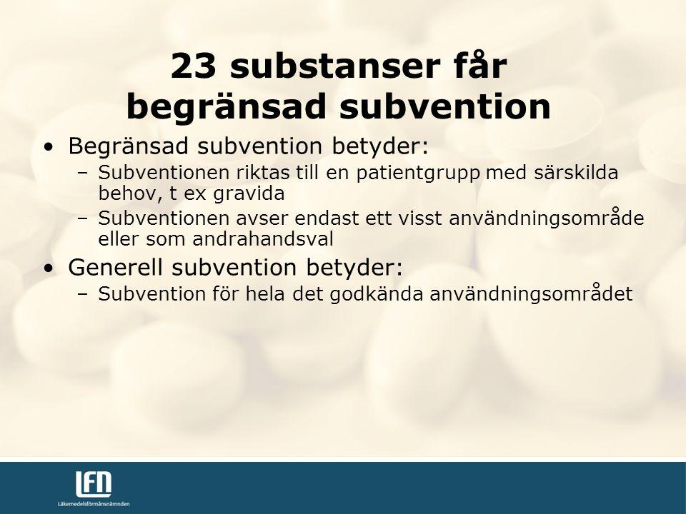 23 substanser får begränsad subvention