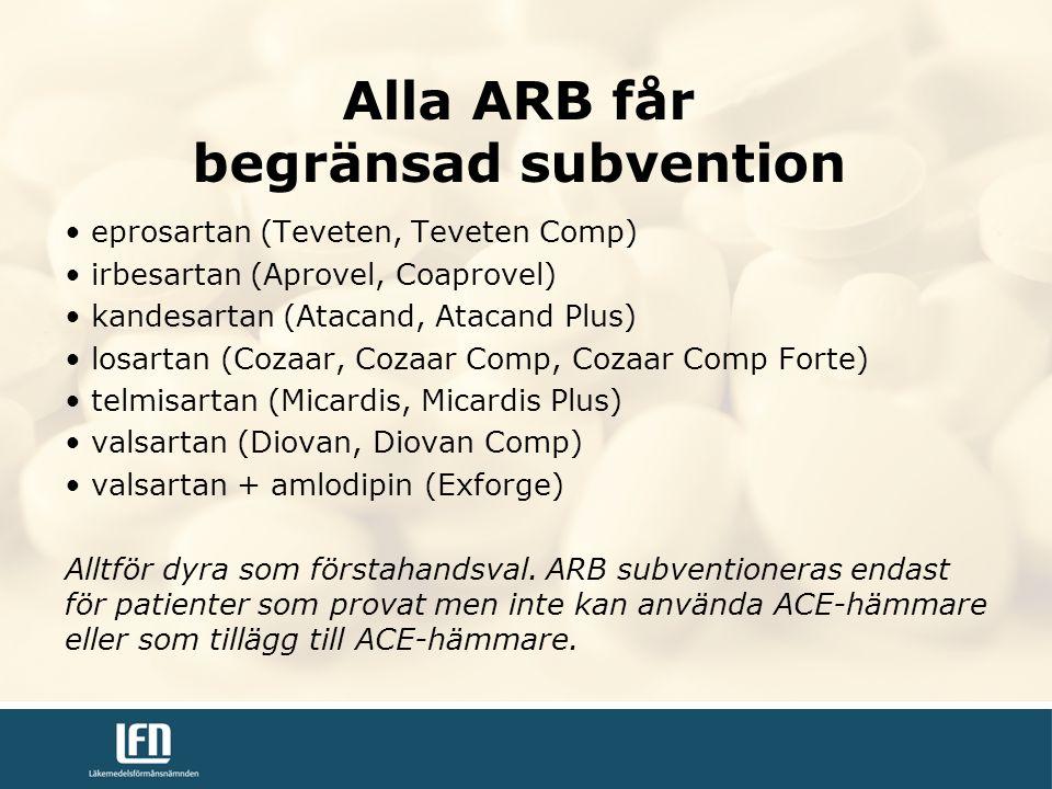 Alla ARB får begränsad subvention