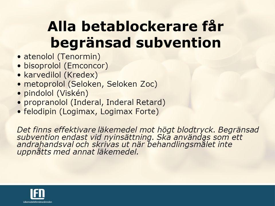 Alla betablockerare får begränsad subvention