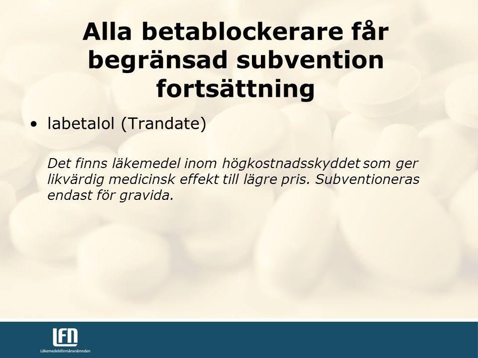 Alla betablockerare får begränsad subvention fortsättning