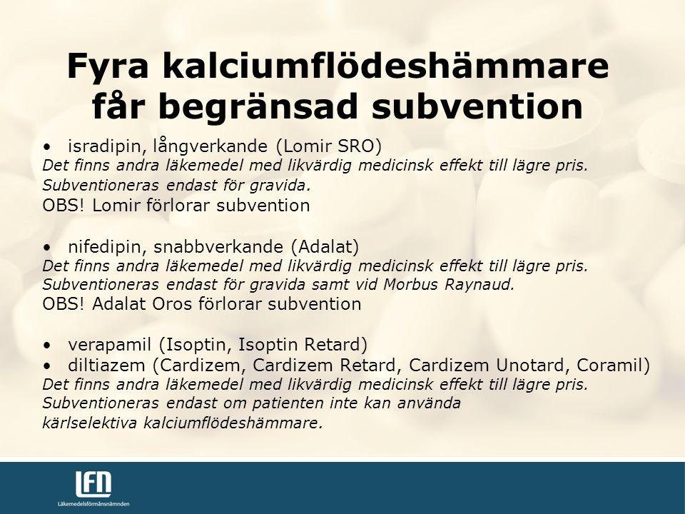 Fyra kalciumflödeshämmare får begränsad subvention