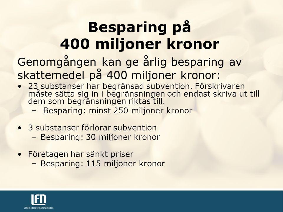 Besparing på 400 miljoner kronor