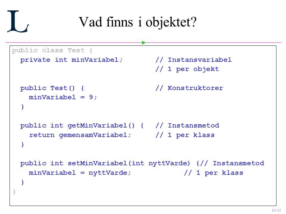 Vad finns i objektet public class Test {