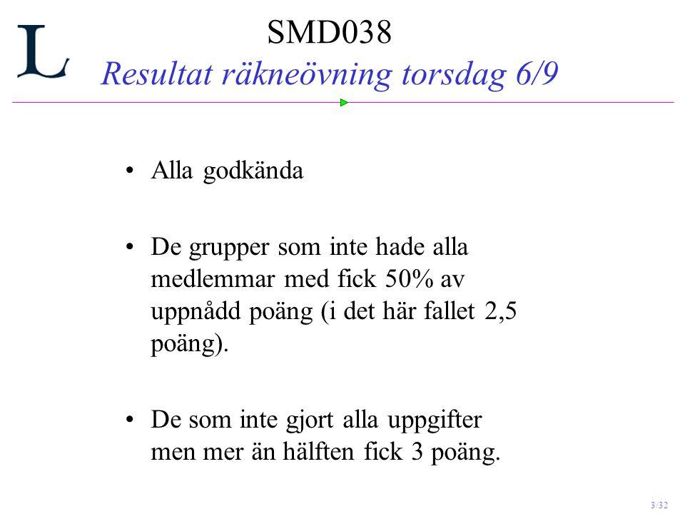 SMD038 Resultat räkneövning torsdag 6/9