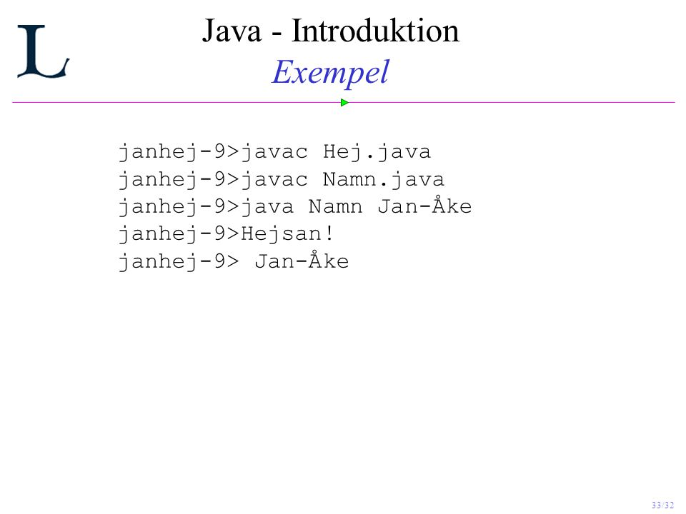 Java - Introduktion Exempel