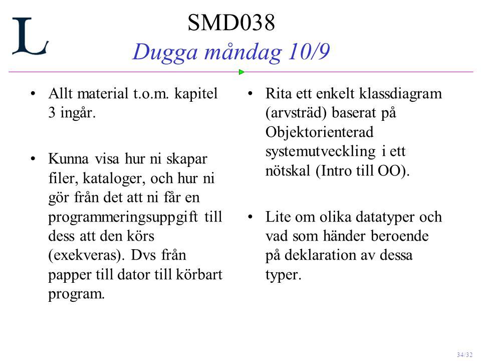 SMD038 Dugga måndag 10/9 Allt material t.o.m. kapitel 3 ingår.