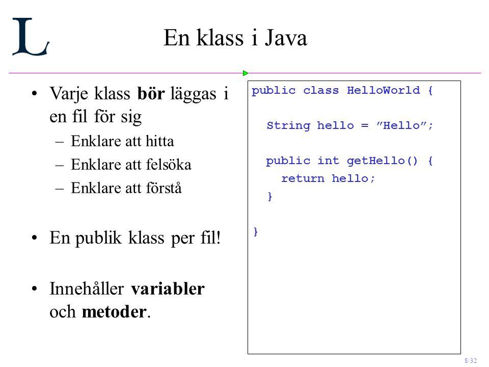En klass i Java Varje klass bör läggas i en fil för sig