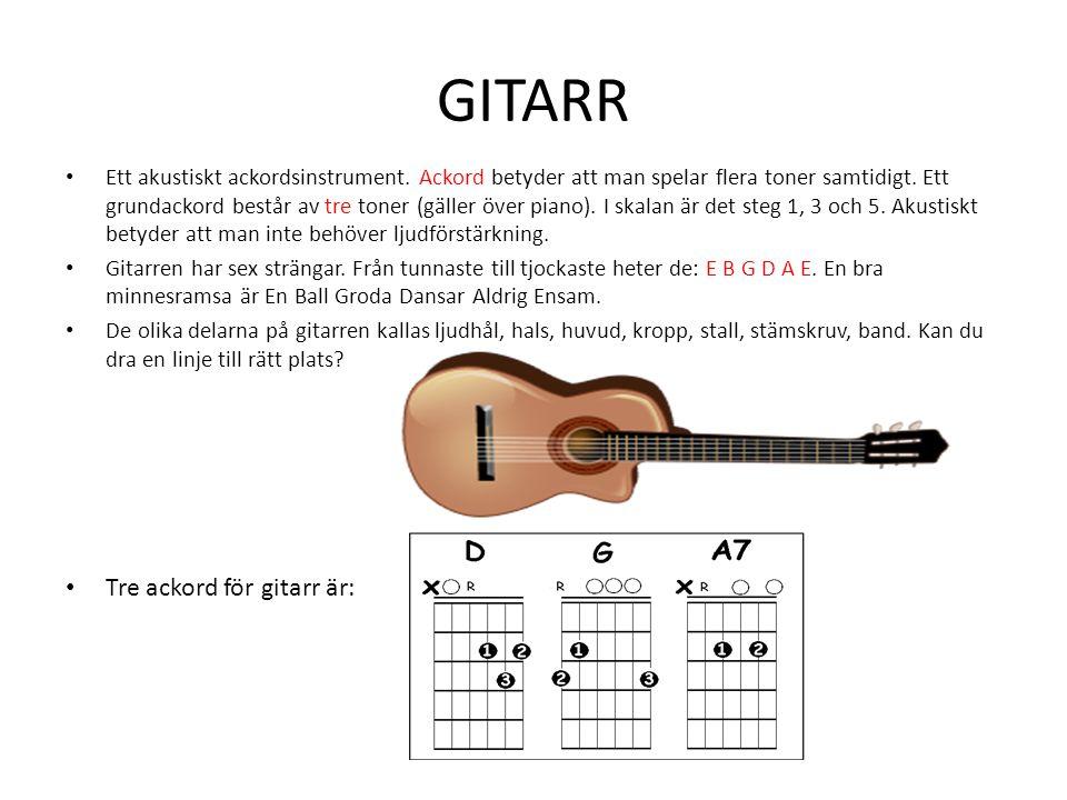 GITARR Tre ackord för gitarr är: