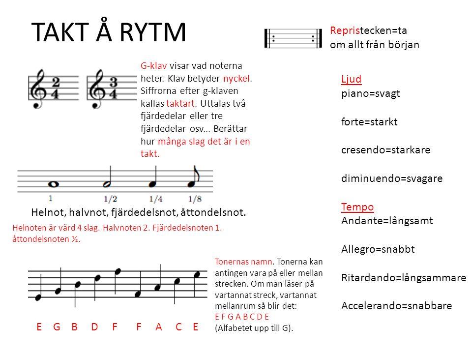 TAKT Å RYTM Repristecken=ta om allt från början Ljud piano=svagt