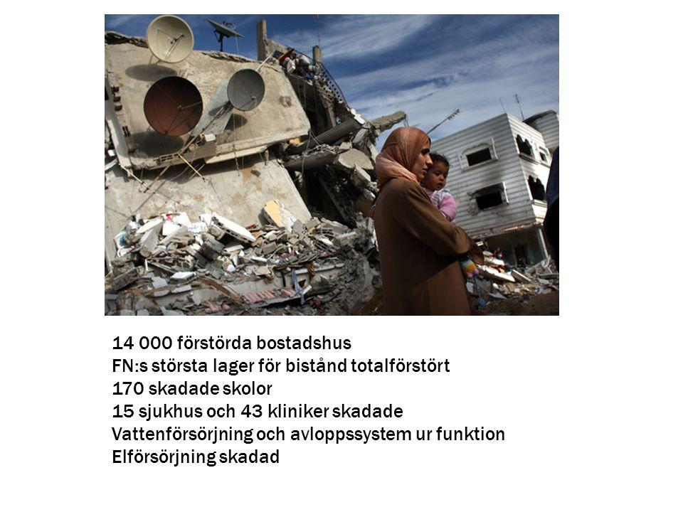 14 000 förstörda bostadshus FN:s största lager för bistånd totalförstört. 170 skadade skolor. 15 sjukhus och 43 kliniker skadade.