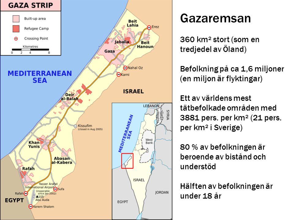 Gazaremsan 360 km² stort (som en tredjedel av Öland)