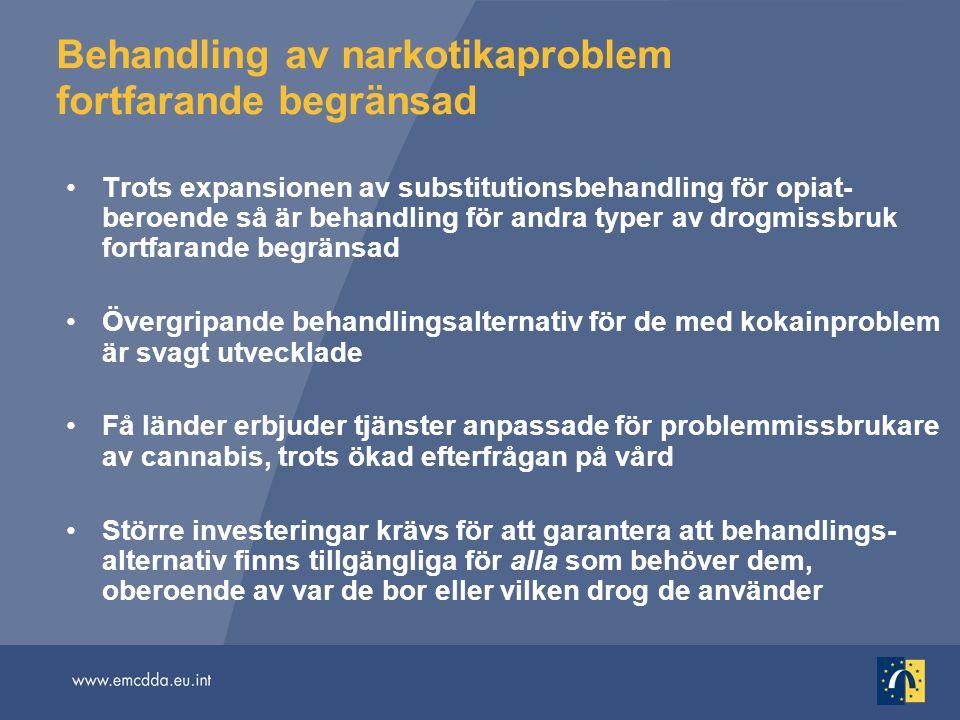 Behandling av narkotikaproblem fortfarande begränsad
