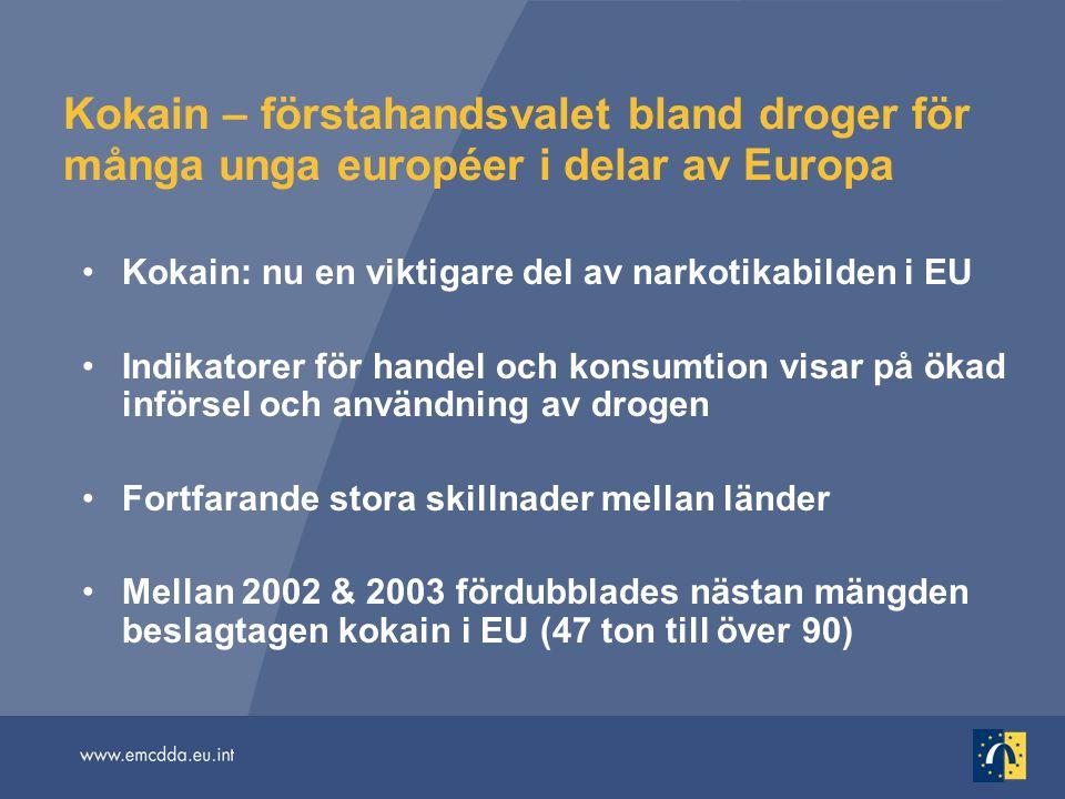 Kokain – förstahandsvalet bland droger för många unga européer i delar av Europa