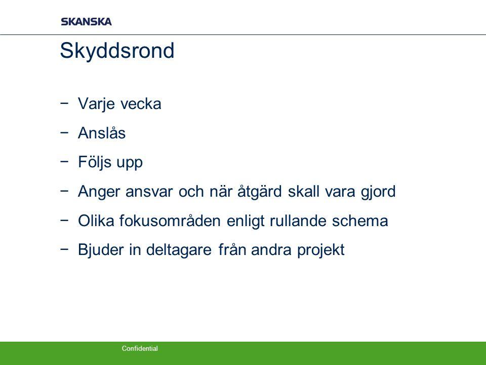 Skyddsrond Varje vecka Anslås Följs upp