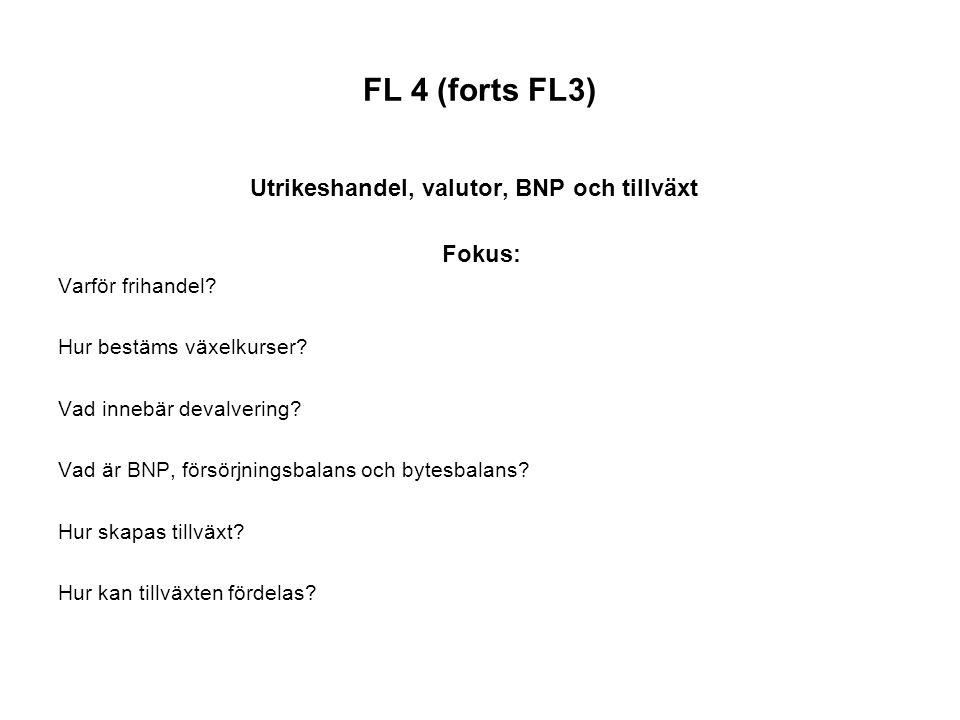 FL 4 (forts FL3) Utrikeshandel, valutor, BNP och tillväxt Fokus: