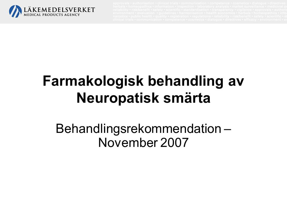 Farmakologisk behandling av Neuropatisk smärta