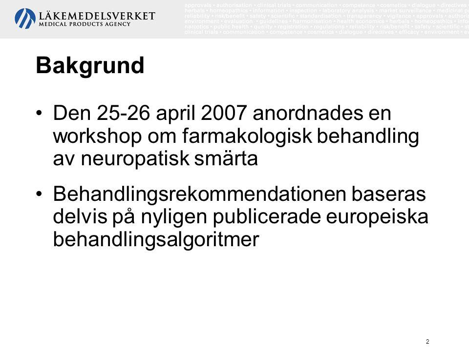 Bakgrund Den 25-26 april 2007 anordnades en workshop om farmakologisk behandling av neuropatisk smärta.