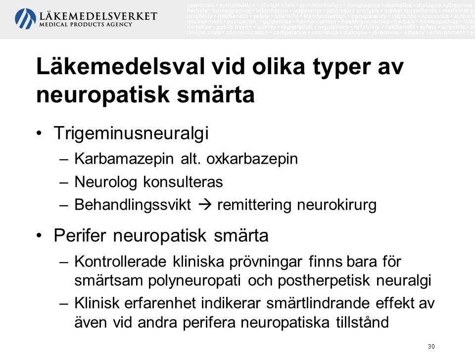 Läkemedelsval vid olika typer av neuropatisk smärta