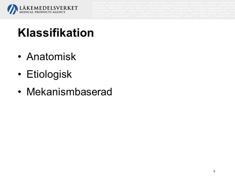 Klassifikation Anatomisk Etiologisk Mekanismbaserad Klassifikation