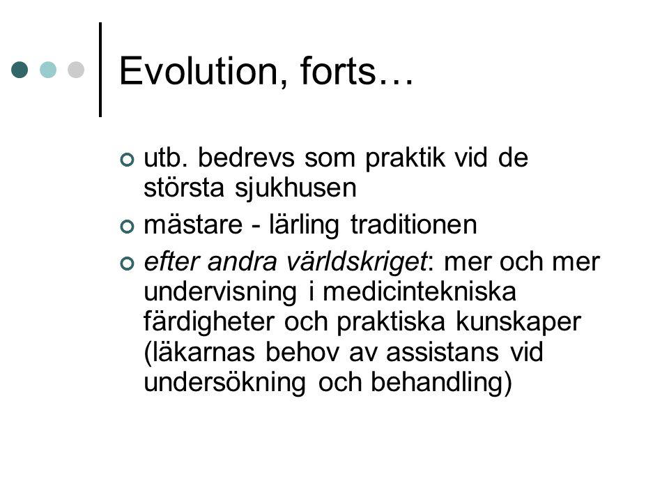 Evolution, forts… utb. bedrevs som praktik vid de största sjukhusen