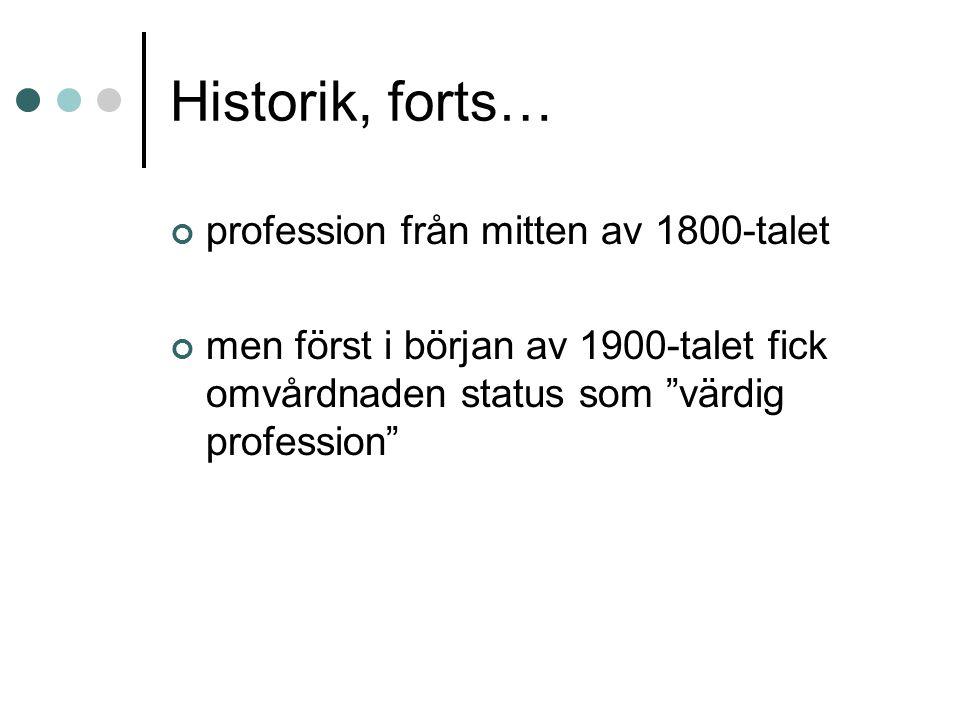Historik, forts… profession från mitten av 1800-talet