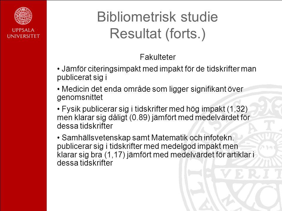 Bibliometrisk studie Resultat (forts.)